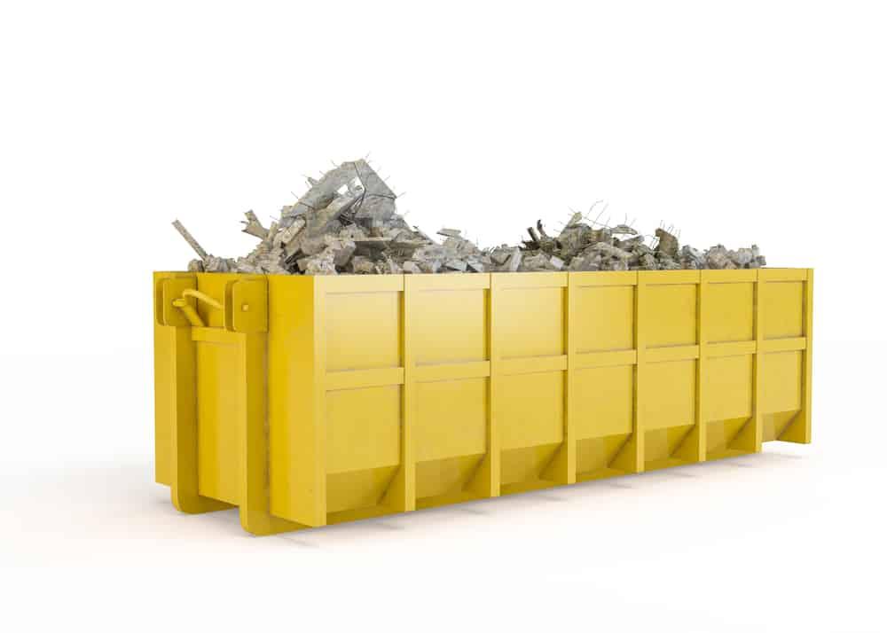 A yellow dumpster from dumpster rental dutchess county