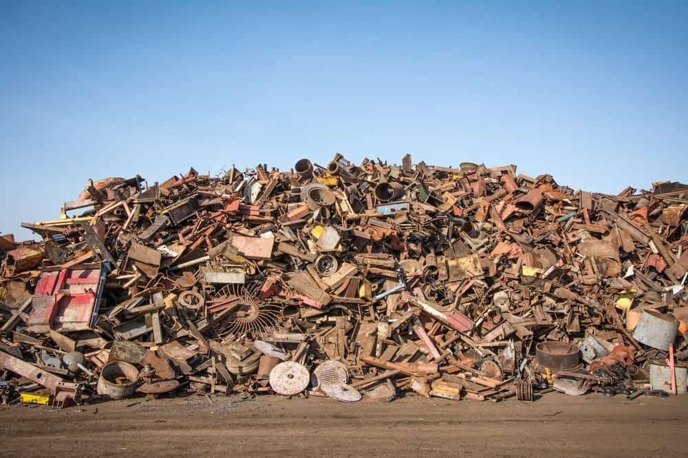 Pile of scrap metal for scrap metal removal